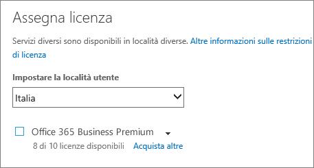 Screenshot del menu Assegna licenza senza alcun abbonamento selezionato.