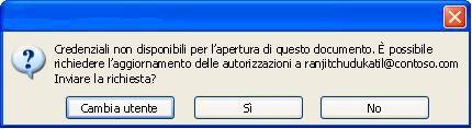 Finestra di dialogo in Word in cui è visualizzato un documento con autorizzazioni limitate inoltrato a un utente non autorizzato