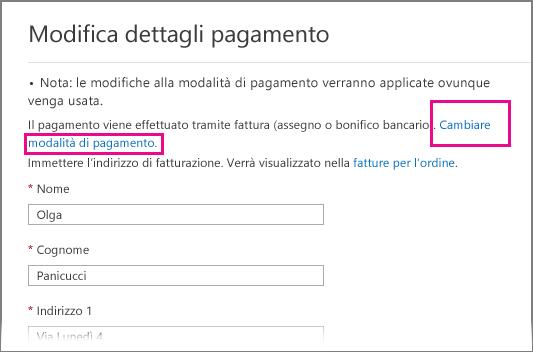 Pagina Cambiare i dettagli del pagamento, con il collegamento relativo al cambio di modalità di pagamento evidenziato.