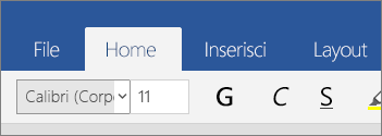 Scheda Home in Word Mobile per Windows 10