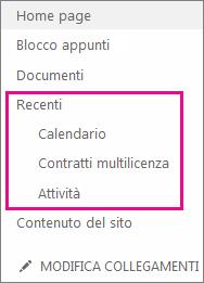 Il collegamento Recenti nella barra di avvio veloce visualizza le pagine, le raccolte e gli elenchi creati recentemente