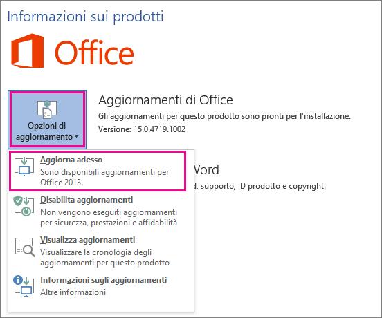 Verifica manuale della presenza di aggiornamenti di Office in Word 2016