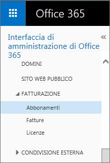 Collegamento alla pagina Abbonamenti in Office 365 Small Business Premium.