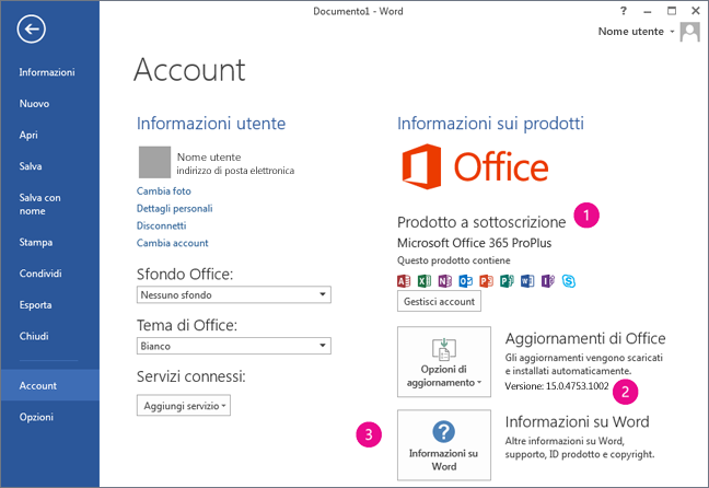 File > Account in un abbonamento a Office 365