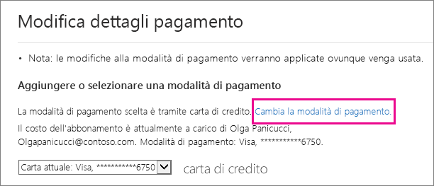 Pagina Cambiare i dettagli del pagamento con il collegamento Cambia modalità di pagamento evidenziato.