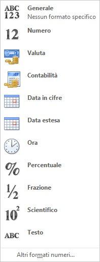 Raccolta di formati numero