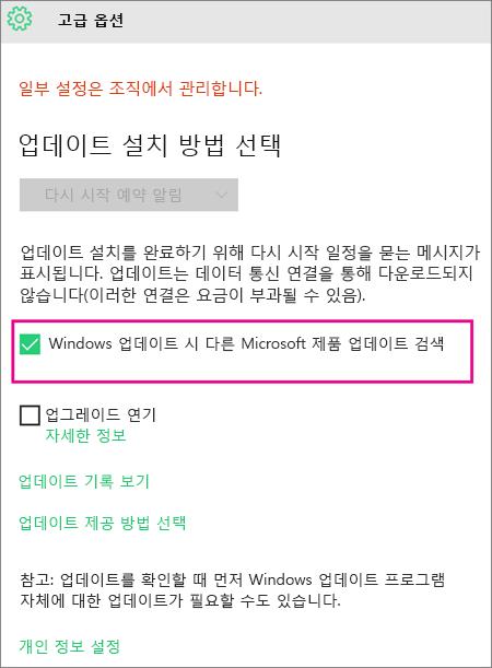 Windows 업데이트 고급 옵션