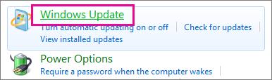 제어판의 Windows Update 링크