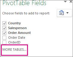 필드 목록에 더 많은 테이블 추가