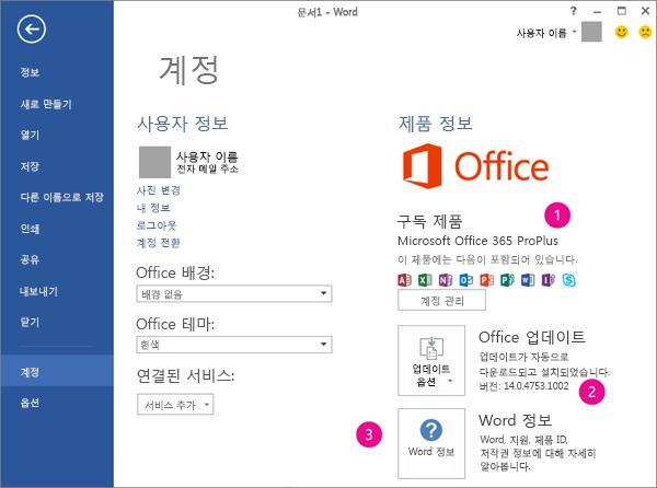 Office 365 구독의 파일 > 계정