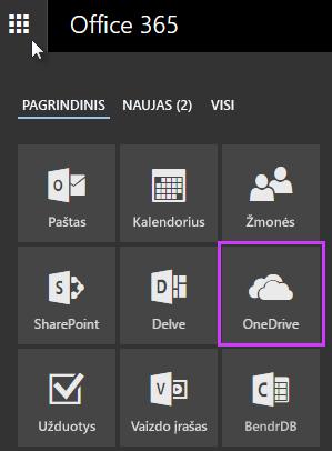 """""""Office 365"""" taikomųjų programų vykdyklės naudojimas pereiti į """"OneDrive"""" verslui"""