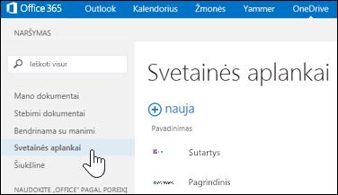 """""""OneDrive"""" verslui pasirinkite svetainės aplankus, kad rastumėte savo sekamas svetaines, kuriose yra dokumentų bibliotekų"""