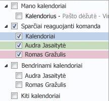 Kalendorių grupė naršymo srityje