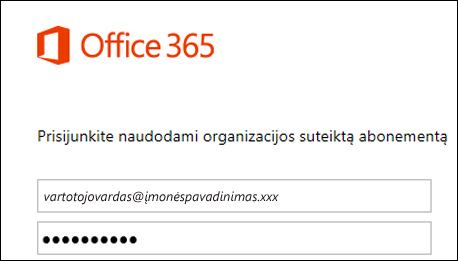 """""""Office 365"""" portalo prisijungimo ekranas"""