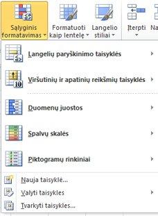 Sąlyginio formatavimo stiliai