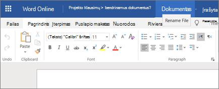 """Pavadinimo juostos spustelėjimas, kad būtų galima pakeisti """"Word Online"""" dokumento pavadinimą."""