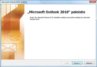 """Outlook 2010"" paleisties langas"