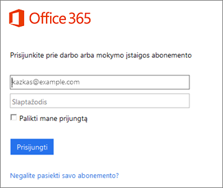portal.Office.com prisijungimo puslapis