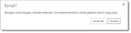 Dialogo langas, kuriame klausiama, ar norite išjungti bendrinamo dokumento svečio saitą, kad jis daugiau nebeveiktų.
