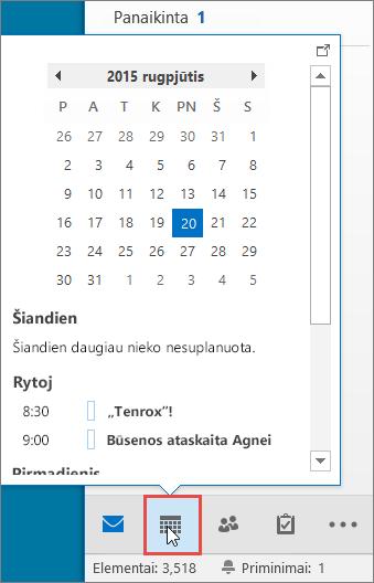 Kalendoriaus suvestinė su iškviesta Kalendoriaus piktograma