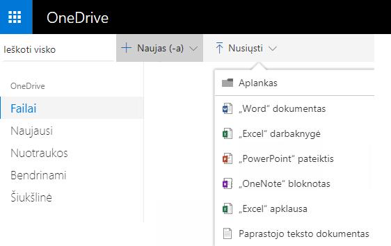 Dokumento kūrimo OneDrive.com ekrano kopija