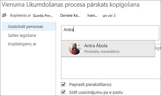 Ekrānuzņēmums, kurā redzama faila kopīgošana pakalpojumā OneDrive darbam