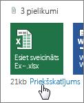 Office pielikumu priekšskatījums programmā Outlook Web App