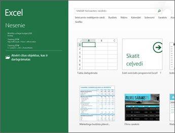 Dažas programmā Excel pieejamās veidnes