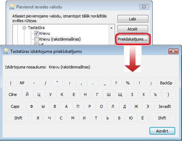 Dialoglodziņš Ievades valodas pievienošana ar krievu valodas tastatūru