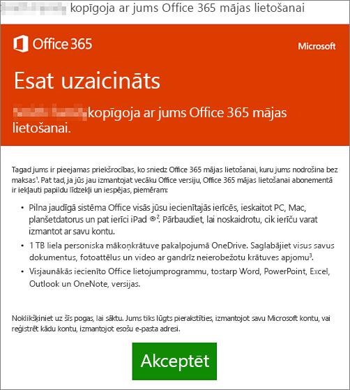 E-pasta ziņojums ar paziņojumu, ka ar jums kāds ir kopīgojis Office365 mājas lietošanai