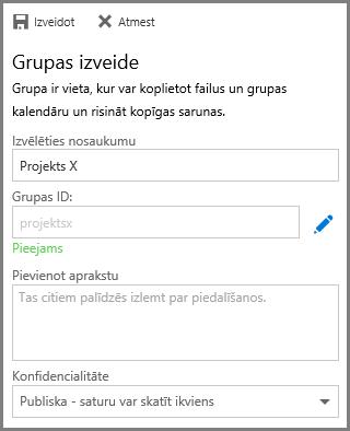 Ekrānuzņēmums ar vārda ierakstīšanu un noklikšķināšanu uz Veidot, lai veidotu grupu no OneDrive darbam
