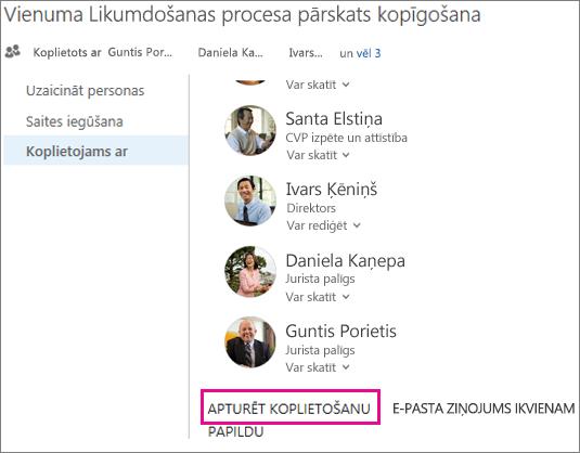 Ekrānuzņēmums, kurā parādīts, kā pārtraukt koplietot informāciju ar citiem lietotājiem