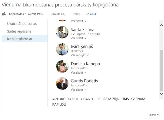 Ekrānuzņēmums, kurā redzama dialoglodziņa Koplietošana cilne Koplietots ar