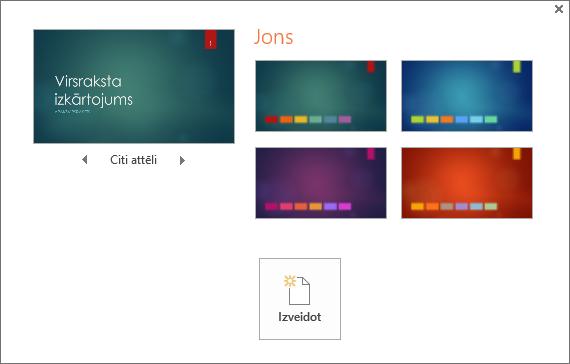 Tiek rādītas dizaina krāsu variantu opcijas programmā PowerPoint