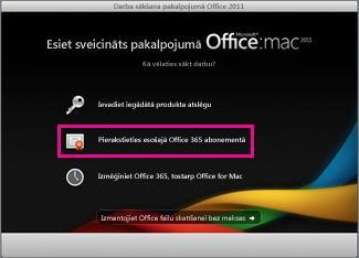 Office for Mac instalēšanas sākumlapa, kurā varat pierakstīties esošā Office365 abonementā.