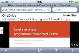 Slaidrāde PowerPoint Mobile skatītājā