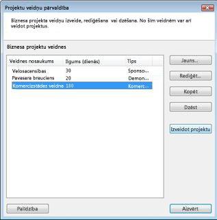 Dialoglodziņš Projektu veidņu pārvaldība programmā Business Contact Manager for Outlook