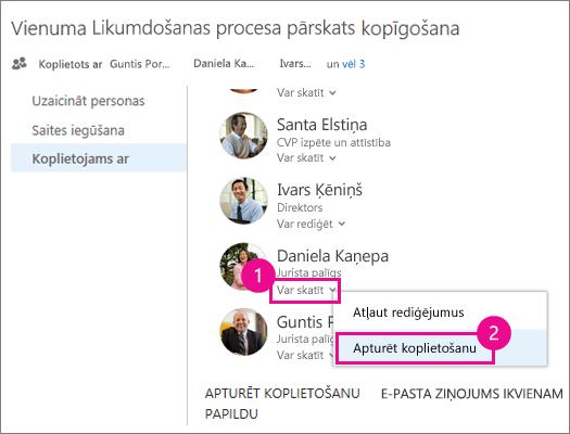 Ekrānuzņēmums, kurā parādīts, kā pārtraukt koplietot informāciju ar vienu lietotāju