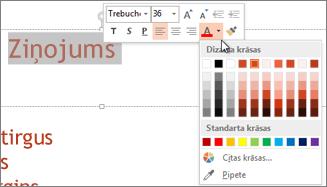 Teksta krāsas mainīšana