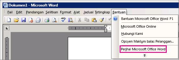 Bantuan > Mengenai Microsoft Office Word dalam Word 2003