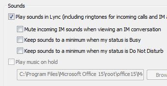 Ubah seting isyarat Lync