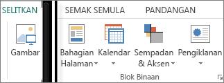 Petikan skrin kumpulan Blok Binaan pada tab Selitkan dalam Publisher.