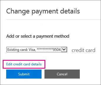 Halaman butiran bayaran halaman dengan Edit butiran kad kredit diserlahkan.