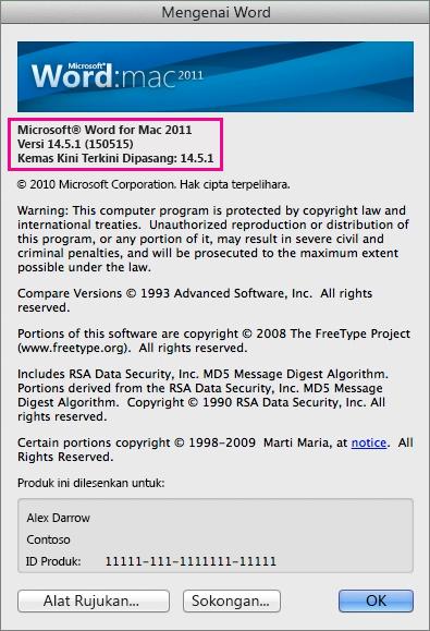 Word for Mac 2011 menunjukkan halaman Tentang Word