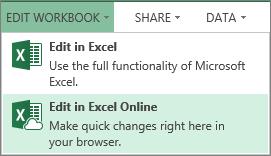 Edit dalam Excel Online pada menu Edit Buku Kerja