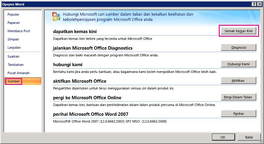 Menyemak kemas kini Office dalam Word 2007