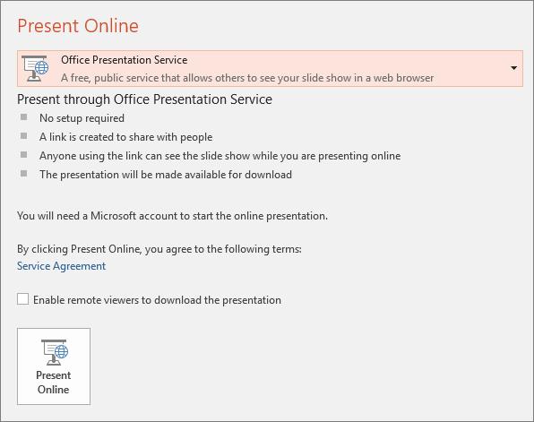 Menunjukkan opsyen Fail > Kongsi > Tampilkan Dalam Talian dalam PowerPoint
