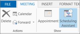 Butang Pembantu Penjadualan dalam Outlook 2013.