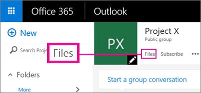 Petikan skrin mengklik Fail dalam Kumpulan untuk pergi ke OneDrive untuk kumpulan
