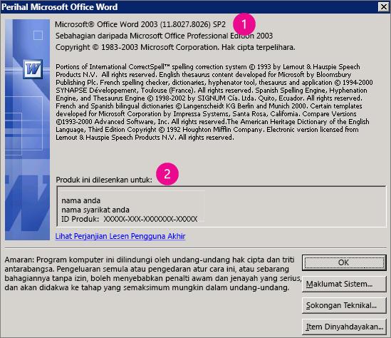 Tetingkap Mengenai Microsoft Office Word 2003